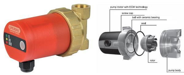 циркуляционный насос со сферическим мокрым ротором на постоянных магнитах Speroni SCRSE 15/15-65 (UPH 15-15 E1)