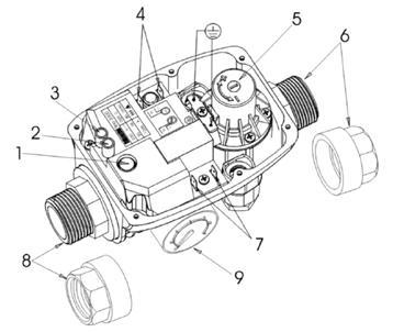 Основные элементы электронного реле давления и потока Brio 2000MТ